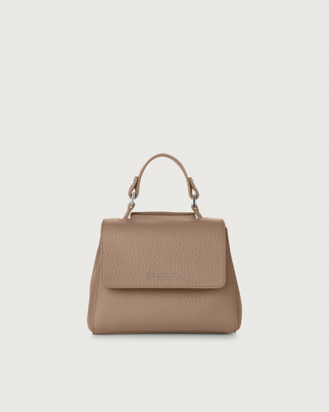Orciani Sveva Soft mini leather handbag with strap Leather Taupe