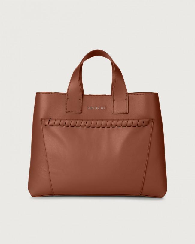 Orciani Nora Liberty large leather handbag Leather Cognac
