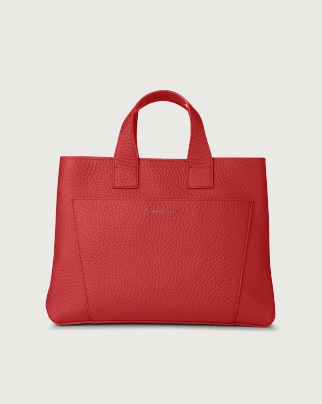 Orciani Nora Soft large leather handbag Marlboro red