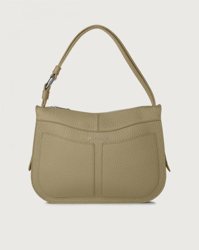 Orciani Ginger Soft medium leather shoulder bag Leather Kaki