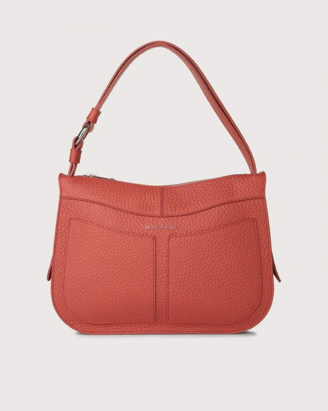 Orciani Ginger Soft medium leather shoulder bag Leather Brick