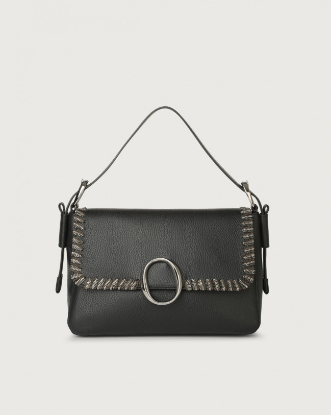 Orciani Soho Chain leather baguette bag with strap Leather Black