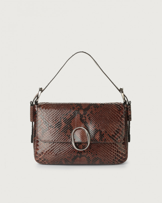 Orciani Soho Diamond python leather baguette bag with strap Python Leather Cocoa brown