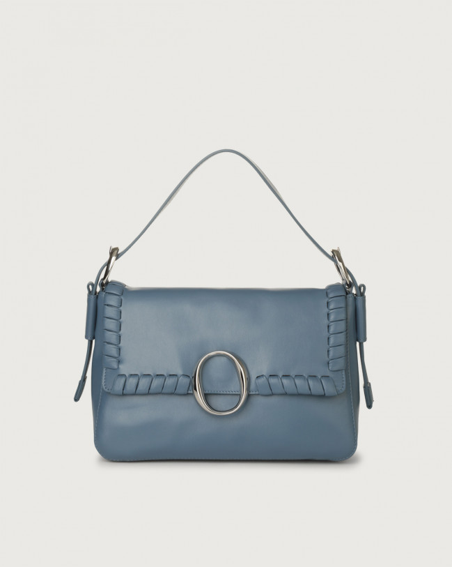 Orciani Soho Liberty leather baguette bag with strap Leather Denim