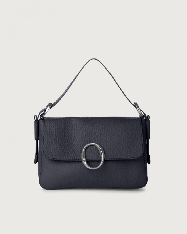 Orciani Soho Soft leather baguette bag with strap Leather Navy