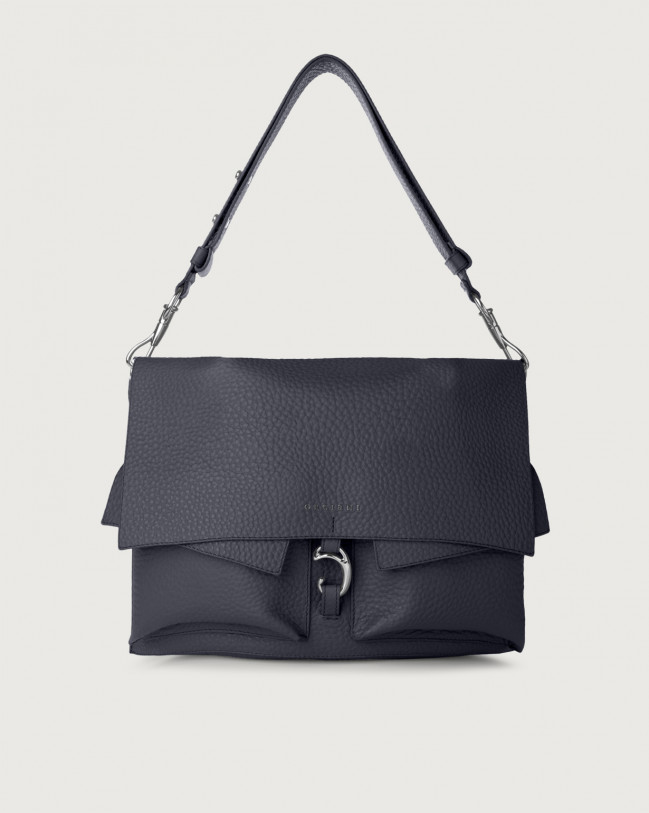 Orciani Scout Soft leather shoulder bag Leather Navy