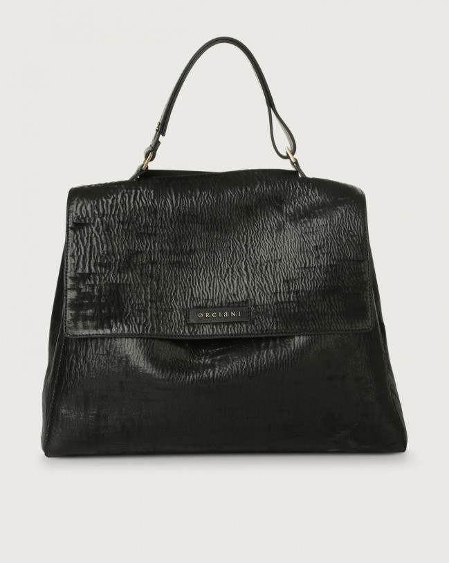 Orciani Sveva Cutting large leather shoulder bag with strap Leather Black