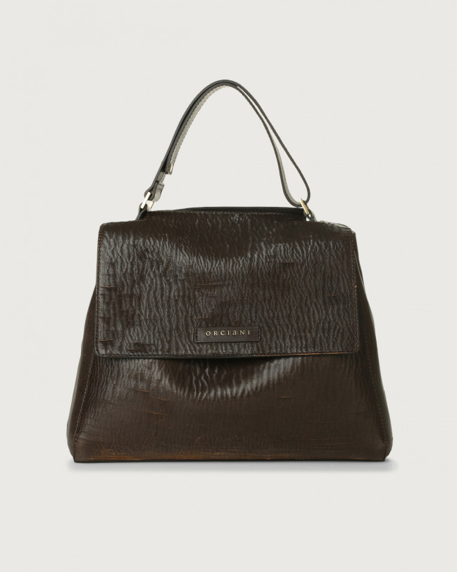 Orciani Sveva Cutting medium leather shoulder bag with strap Leather Chocolate
