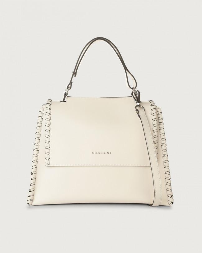 Orciani Sveva Liberty Mesh medium leather shoulder bag with strap White