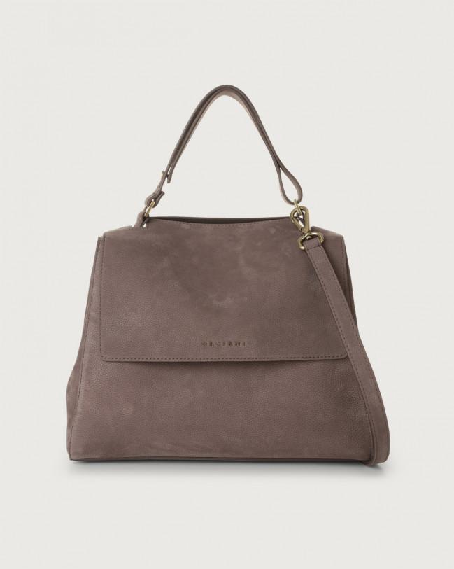 Orciani Sveva Alicante medium nabuck leather shoulder bag with strap Nabuck Cocoa