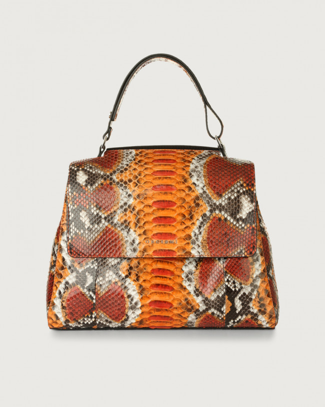 Orciani Sveva Naponos medium python leather shoulder bag with strap Orange
