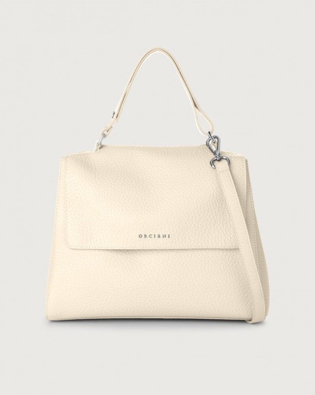 Orciani Sveva Soft medium leather shoulder bag with strap Leather Ivory