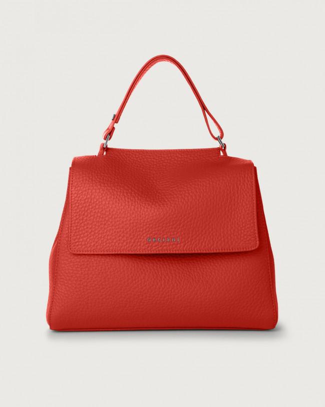 Orciani Sveva Soft medium leather shoulder bag with strap Leather Marlboro red