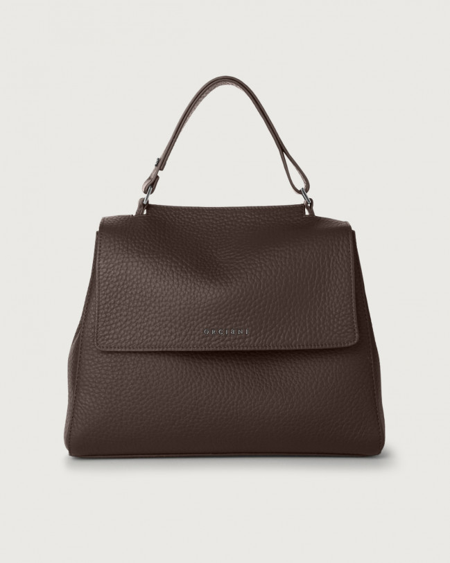 Orciani Sveva Soft medium leather shoulder bag with strap Leather Chocolate
