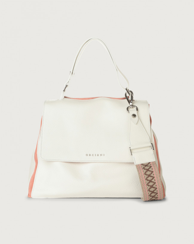 Orciani Sveva Warm medium leather shoulder bag with strap Leather & fabric, Suede White+Pink