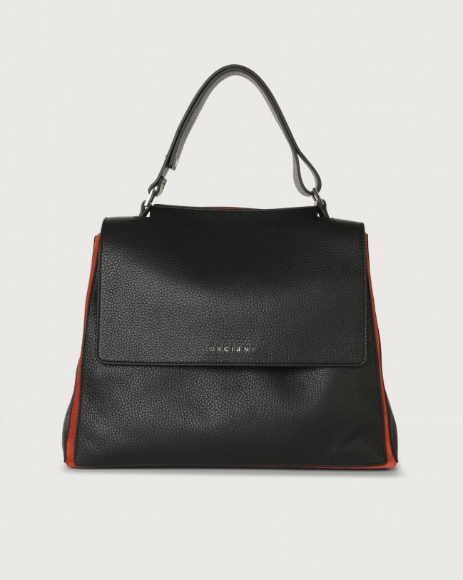 Orciani Sveva Warm medium leather shoulder bag with strap Canvas, Leather, Suede Black+orange