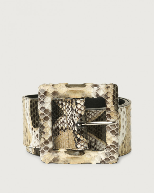 Orciani Naponos high waist python leather belt with covered buckle Python Leather Sand
