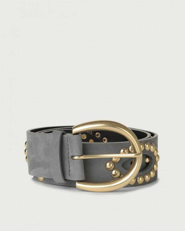 Orciani Alicante nabuck leather belt with studs Nabuck Light grey