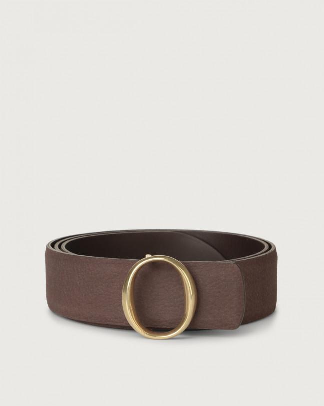 Orciani Alicante nabuck leather belt with monogram buckle Nabuck Cocoa