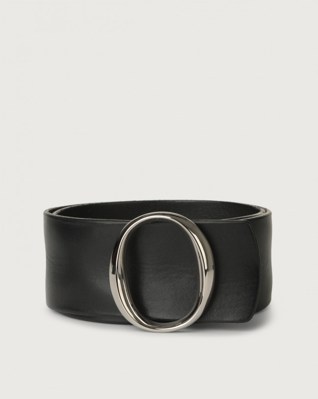 Orciani Bull Soft high-waist leather belt with monogram buckle Leather Black
