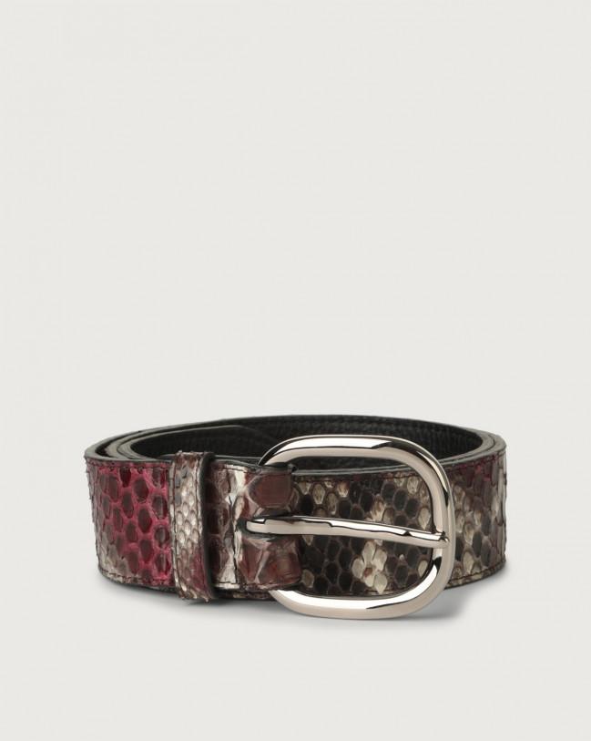 Orciani Naponos python leather belt with metal eyelets Python Leather Bordeaux