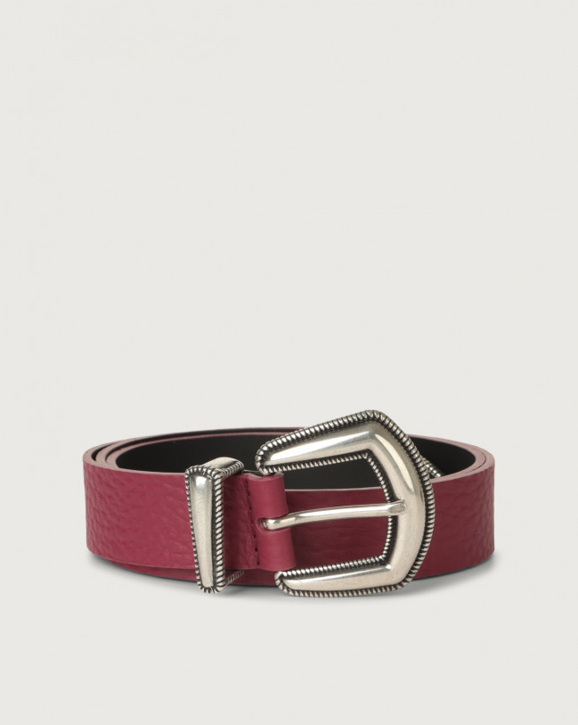 Orciani Soft western details leather belt Leather Purple