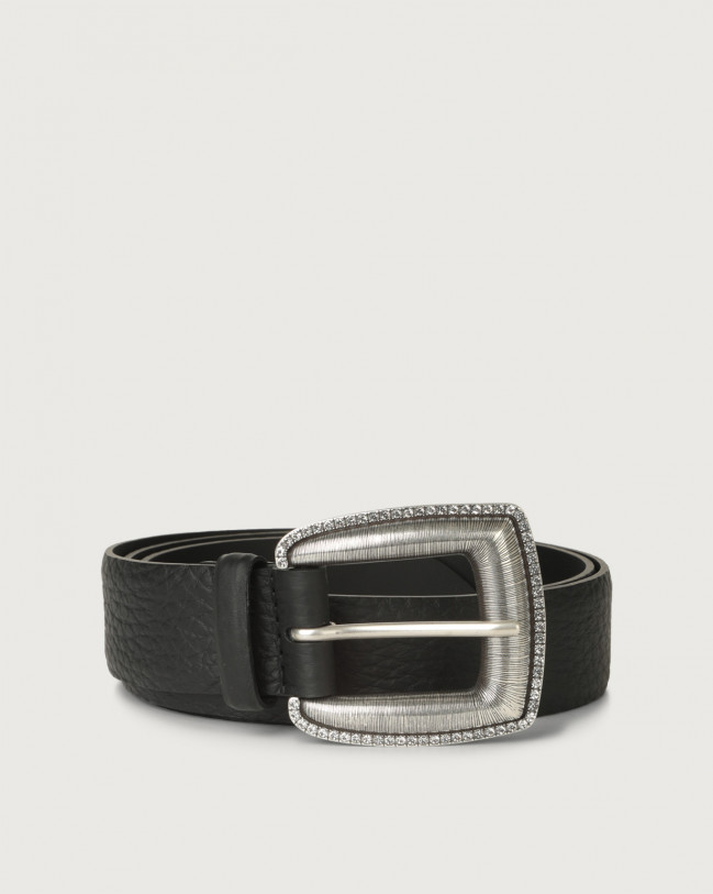 Orciani Soft leather belt 3,5 cm Leather Black