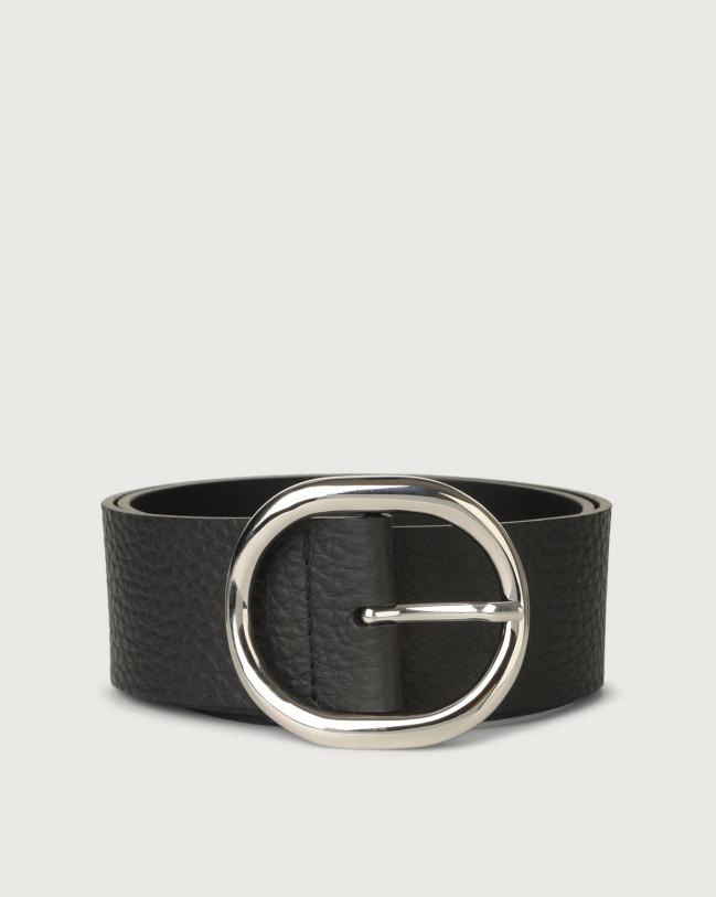 Orciani Soft hiigh-waist leather belt 5 cm Leather Black
