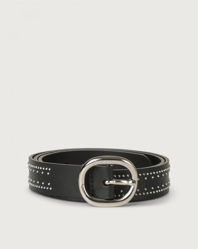 Orciani Liberty micro-studs leather belt Leather Black