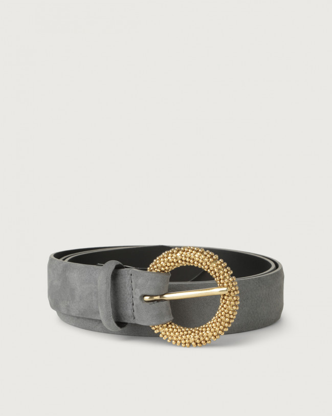 Orciani Alicante nabuck leather belt with chain buckle Nabuck Light grey