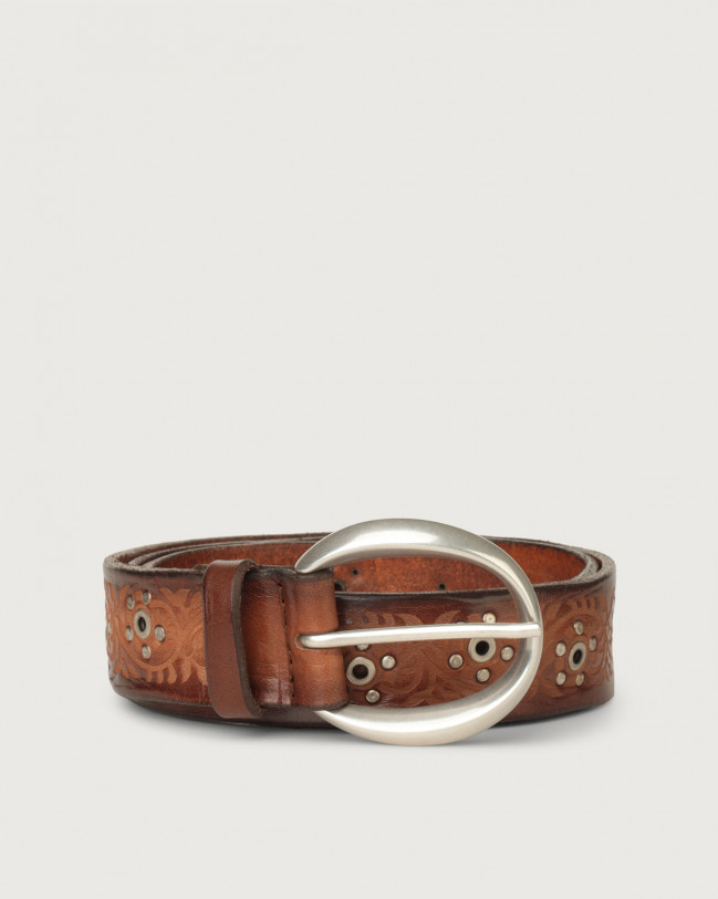 Orciani Stain Soapy micro-studs leather belt Leather Honey