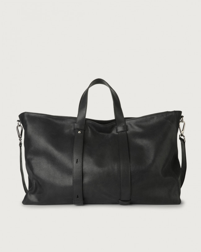 Orciani Chevrette large leather weekender bag Leather Black