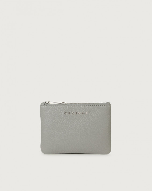 Orciani Micron small leather pouch Leather Grey