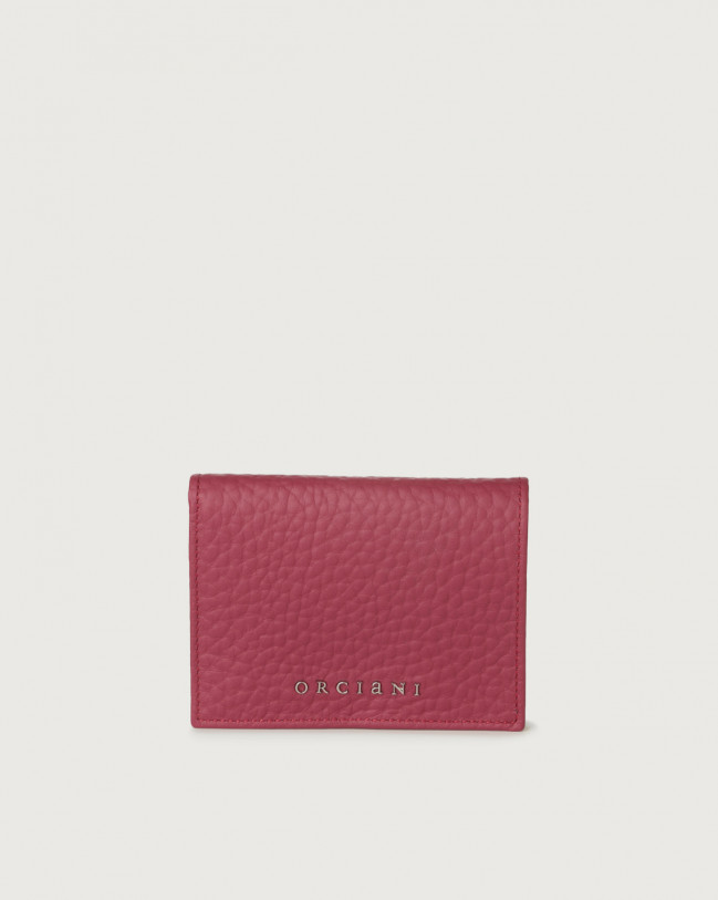 Orciani Soft small leather wallet with RFID Leather Purple