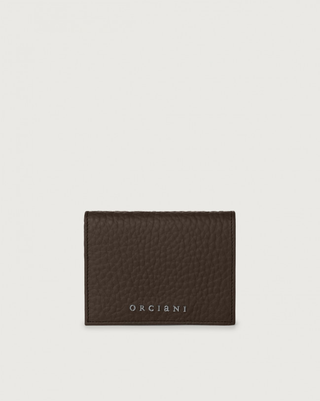 Orciani Soft small leather wallet with RFID Leather Chocolate
