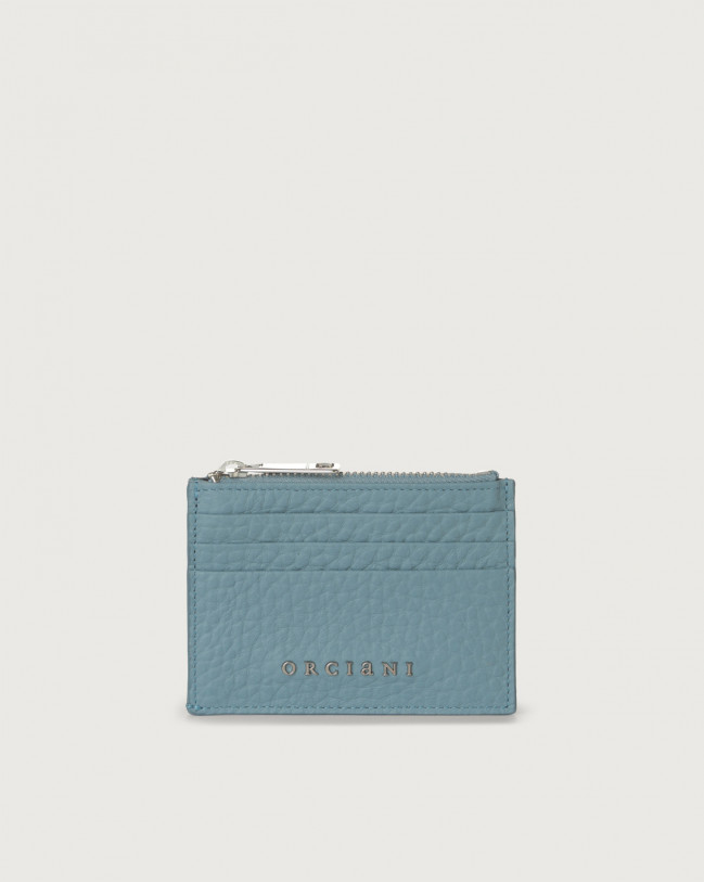 Orciani Soft leather card holder with RFID Leather Light blue