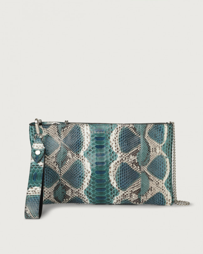 Orciani Naponos python leather pouch with wristband Python Leather Blue