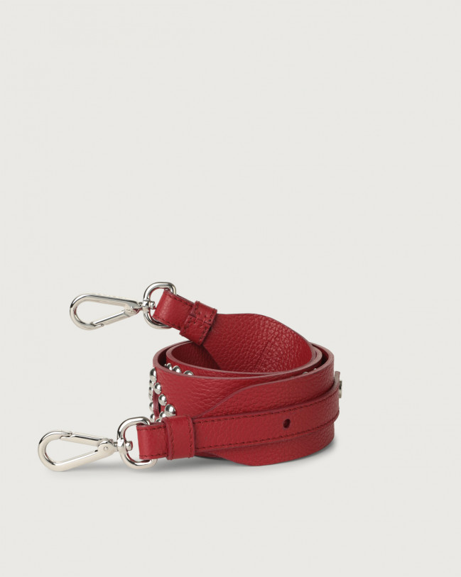 Orciani Micron studs leather strap Leather Ruby red