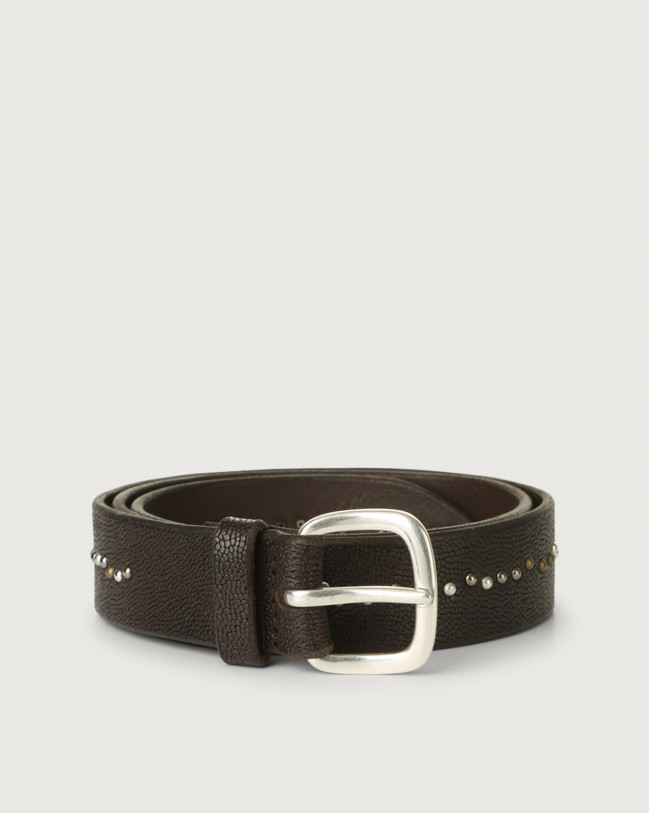 Orciani Frog leather belt with micro-studs Embossed leather Chocolate