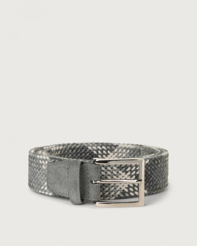 Orciani Diagonal braided wool stretch belt Wool Grey
