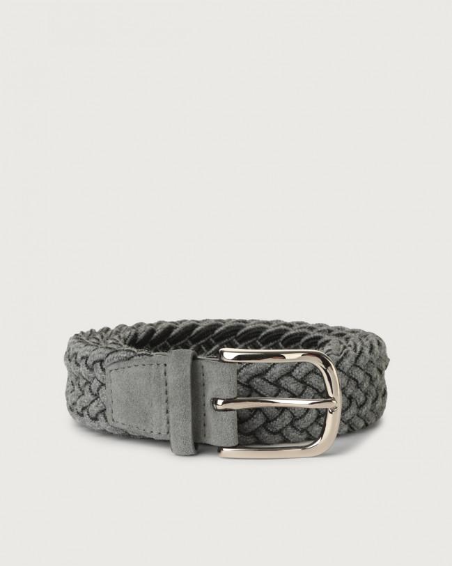 Orciani Ribbon braided wool stretch belt Wool Dark grey