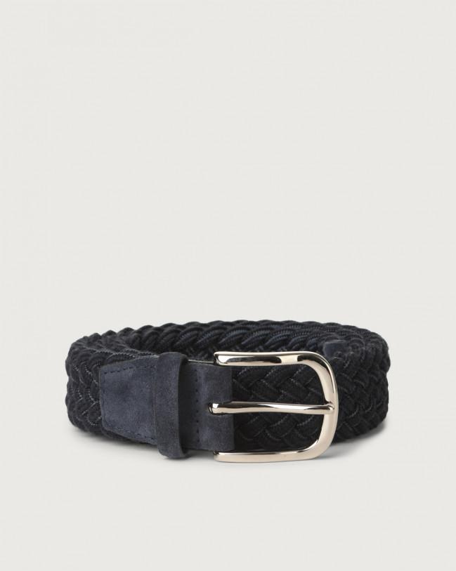 Orciani Ribbon braided wool stretch belt Wool Blue