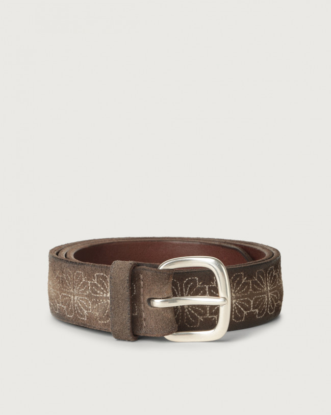 Orciani Cloudy Frame suede belt Suede Mud