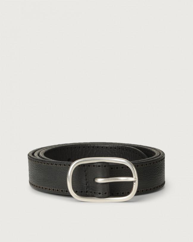 Orciani Chevrette nabuck leather belt 3 cm Nabuck Black