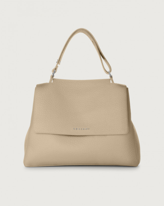Orciani Sveva Soft medium leather shoulder bag with strap Leather Sand