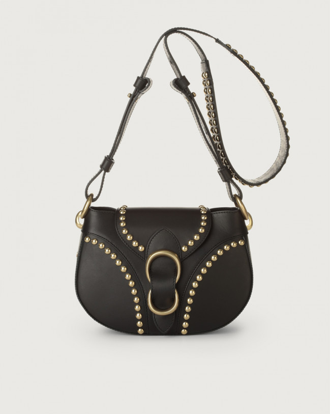 Orciani Beth Piuma Ball leather crossbody bag with brass details Leather Black