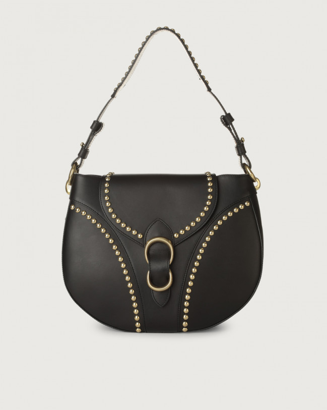 Orciani Beth Piuma Ball leather shoulder bag with brass details Leather Black