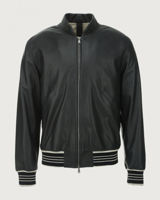 Orciani Nappa Nature leather bomber jacket Blue