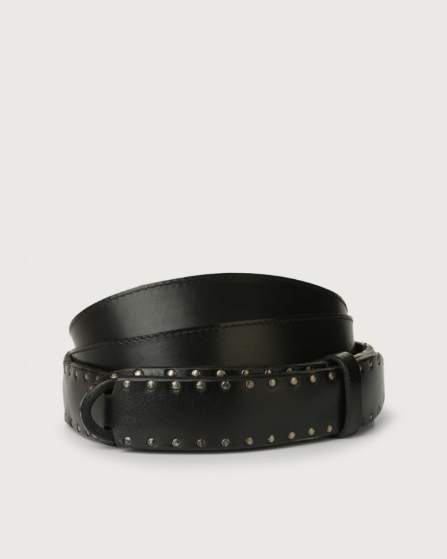 Orciani Bull Stud leather Nobuckle belt Leather Black