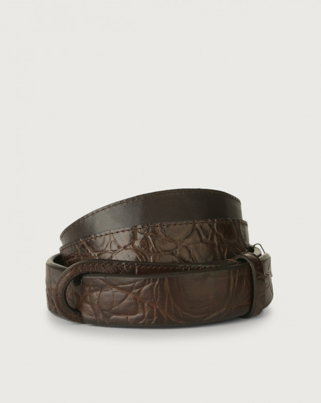 Orciani Sauro leather Nobuckle belt Embossed leather Chocolate